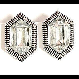 Rhinestone earrings Silver Clip on